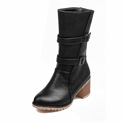 AmoonyFashion Womens Round Closed Toe Low-Top Kitten Heels Solid PU Boots Black 3pHcom2