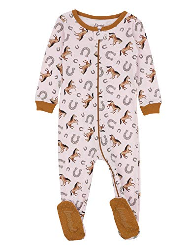 Leveret Kids Pajamas Baby Boys Girls Footed Pajamas Sleeper 100% Cotton (Horse, Size 12-18 Months)