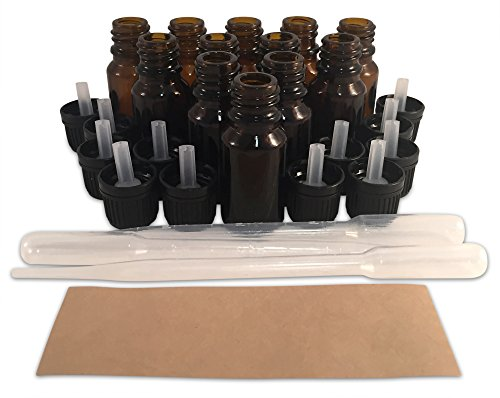 12 New, Premium Quality, 10 ML Amber Glass Euro Dropper Bottles with Tamper-Evident Caps, Round Craft Labels and (3) 3ml Plastic Pipettes - Ideal for use with Essential Oils and Aromatherapy Blends