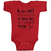 It Matters Not What Someone Is Born But What They Grow To Be Albus Dumbledore Harry Potter Romper Wizard Onesie by BeeGeeTees (6 Months, Red)