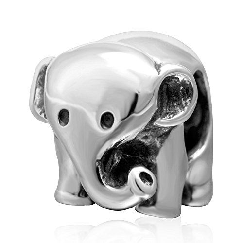 ABAOLA Lucky Animals Head Charm Authentic 925 Sterling Silver Pet Charms for European Bracelet (Elephant)