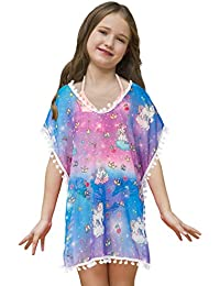 Sylfairy Cover Up for Girls Swimwear Cover-Ups Wraps Beach Dress Bathing Swimsuit Beach Dress Cover-Up with Pompom Tassel(Galaxy,3-6years)