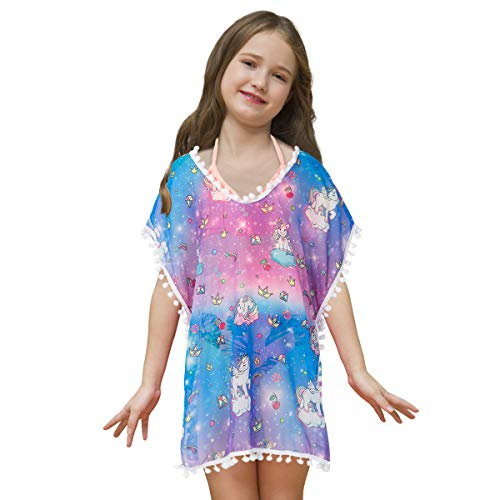 Sylfairy Cover Up, Girls Cover Ups Rainbow Unicorn Coverup V-Neck Swimwear Wrap Cover-ups(Galaxy,7-10Y)