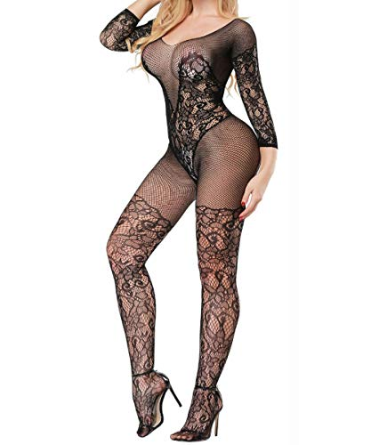 Buitifo Womens Fishnet Bodystocking Plus Size Crotchless Bodysuit Sexy Tights (Black -