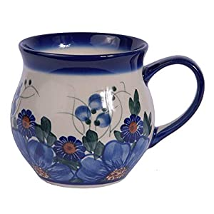 Traditional Polish Pottery, Handcrafted Ceramic Bubble Mug, Boleslawiec Style Pattern, Q.502.Passion