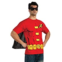 Rubies Costume DC Comics Men's Robin T-Shirt with Cape and Mask, Red