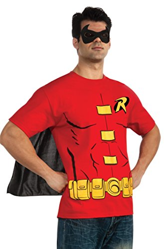 Adults Costumes Robin (DC Comics Men's Robin T-Shirt With Cape And Mask, Red,)
