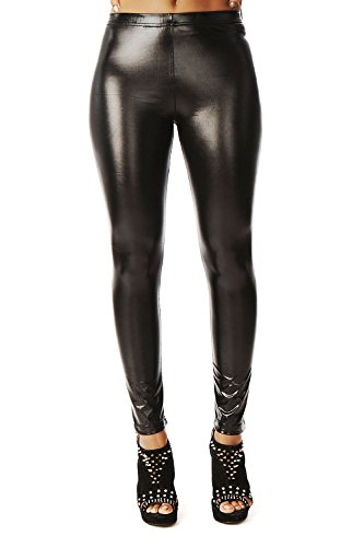 - Liquid Wet Look Shiny Metallic Stretch Leggings (S, Black)