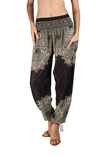 JOOP JOOP Bohemian Tapered Elephant Harem Loose Yoga Travel Lounge Pants,Onyx,Large / X-Large ()
