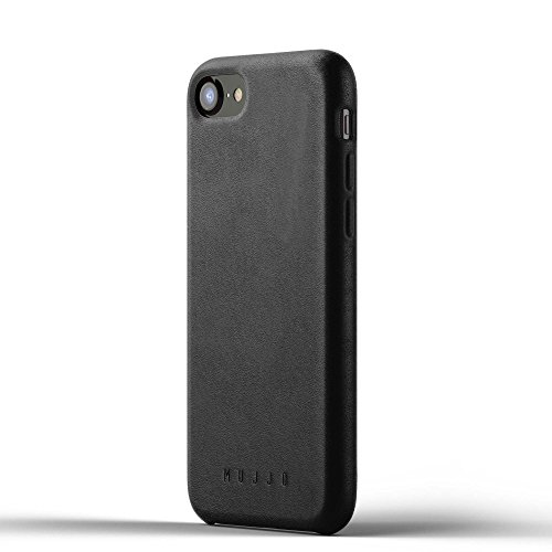 Mujjo Full Leather Case compatible with iPhone 7 & iPhone 8 | Covered Buttons, 1MM Protective Screen Bezel, Japanese Suede Lining (Black) (Leather Mujjo Case Wallet Iphone)