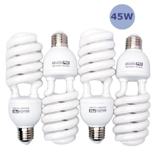 Fovitec - 4x 45 Watt Daylight Fluorescent Light Bulb for Video & Photography - [4 Pack][45 W][CFL][90+ CRI][5500K Full Spectrum]