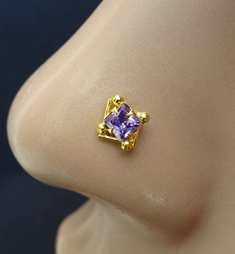 Sapphire Nose Stud,Cubic Zirconia,Indian Nose Stud,Gold Nose Piercing,Small Nose Stud,CZ Simulated Diamond Nose Stud,Triangle Nose Stud,Unique Nose Stud,Push Pin Nose Stud,Indian Nose Pin(TEJ656)