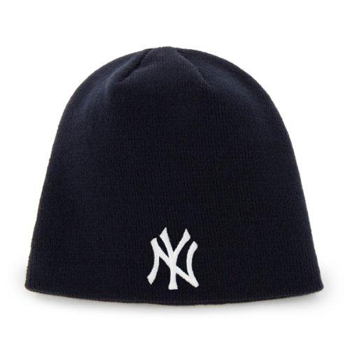 MLB New York Yankees Men's Raised Knit Beanie, One-Size, Navy