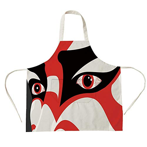 (3D Printed Cotton Linen Big Pocket Apron,Kabuki Mask Decoration,Japanese Drama Kabuki Face with Dramatic Eyes Cultural Theater,Black White Red,for Cooking Baking)