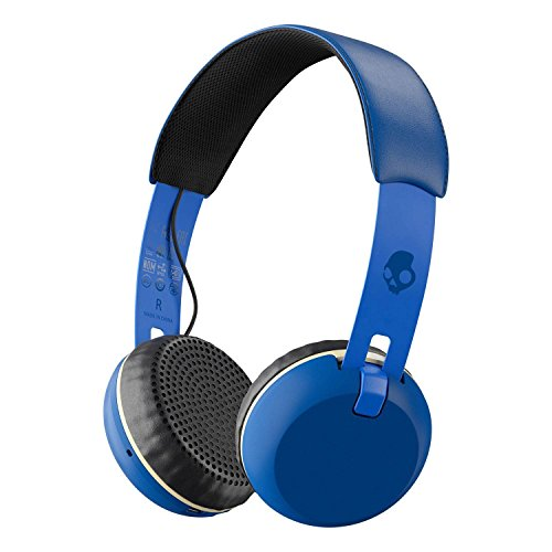 - Skullcandy Grind Bluetooth Wireless On-Ear Headphones with Built-in Mic and Remote, 12-Hour Rechargeable Battery, Supreme Sound Audio, Plush Ear Pillows for Comfort, Royal Blue