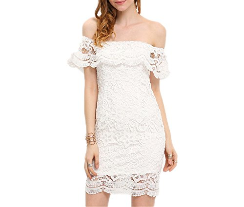 BJIOP Summer Style Sexy Women Mini Dresses White Off the Shoulder Short Sleeve Strapless Lace Ruffle Bodycon Dress C1202