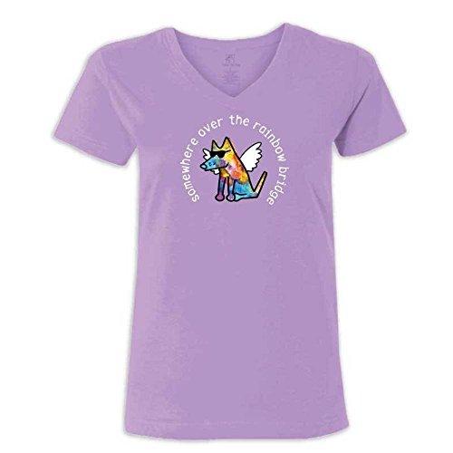 (Teddy the Dog Somewhere Over The Rainbow Bridge - Ladies V-Neck T-Shirt (XX-Large, Lilac))