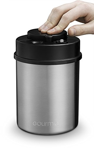 Gourmia GCC9325 Vacuum Sealed Coffee Canister – Stainless Steel Food Storage Container with Built-In Sealer and Date Indicator to Track Freshness – Protects from Heat, Moisture, UV Lights and More (Protect Vessel)