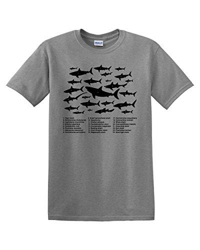 Chart Funny Humor Pun Fish Jaws Ocean Adult Mens Graphic Tee T-Shirt Apparel (Sport Grey, Small) (Fish Small Chart)