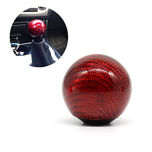 Tasan Racing Universal Round Ball Type Gear Shift Knob with 3 Adapters Gear Shifter Level Carbon Fiber Style Red