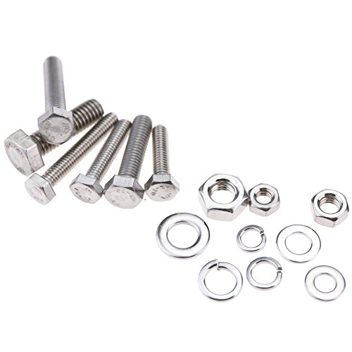 glarks 510 pieces flat hex stainless steel screws bolts