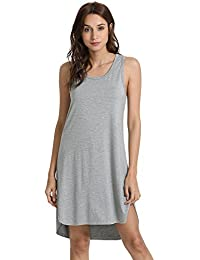 WiWi Womens Bamboo Pajamas Soft Nightgowns Lightweight Sleepwear Sleeveless Scoop Neck Loungewear Plus Size Sleepshirts S-4X
