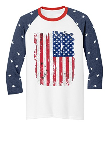 4th of July Raglan Shirts USA Flag Patriotic 3/4 Jersey Men Women Shirts Large Stars