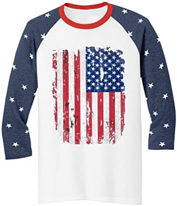 83ed905583 Tstars 4th Of July Americana Collection USA Flag 3 4 Sleeve Baseball Jersey  Shirts