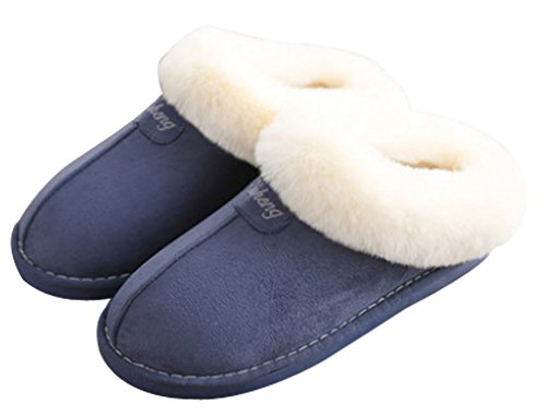 Cattior Womens Fur Lined Warm Outdoor Slippers House Shoes Blue 5brNNQY