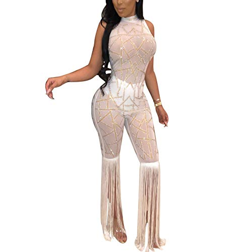 (Sherro Women's Sexy One Piece Jumpsuit Sequins Bodycon Long Pants Rompers)