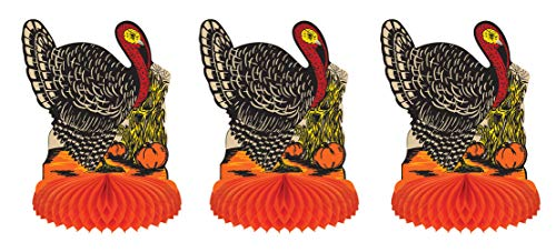 """Beistle 99673 Vintage Fall Harvest Turkey Centerpiece, 3 Piece, 8"""", Multicolored"""