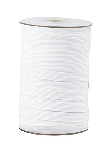 Elastic Spool - White Sewing Elastic Band, Braided Stretchy High Elasticity Roll for DIY Crafts, Clothes, Waistband, 109 Yards in Length 0.5 Inches Wide ()