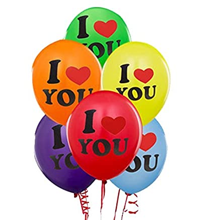 I LOVE YOU Multi Colour Printed Balloon For Valentines Day Party Image
