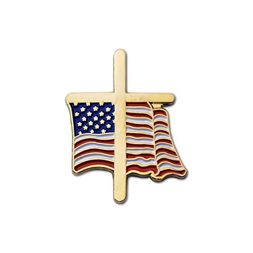 (American Flag Gold Cross Enamel Lapel Pin)