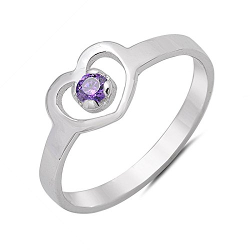 lated Birthstone CZ Sterling Silver Girls Childrens Size 3 -Amethyst (3 Heart)