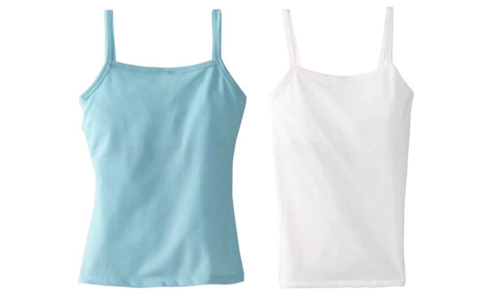 Dragonwing girlgear, Girls' Sports Cami Tank Top with Shelf Bra, X-Large, 2-Pack, 1 Sky Blue, 1 White by Dragonwing girlgear