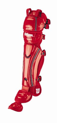 (Wilson Hinge FX Pro Stock Fast Pitch Softball Leg Guards (Scarlet/Silver, 16-Inch))
