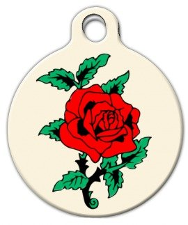 Classic Rose Tattoo - Custom Pet ID Tag for Dogs and Cats - Dog Tag Art - SMALL SIZE