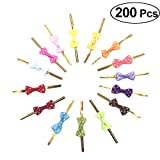 BESTONZON 200pcs bow-knot Twist Ties Pre-tied Gift Wrap Suitable for Treat Bags Lollipops and Cake Pops Party Favor Bags Decorations (Assorted Color,8x3x1cm)
