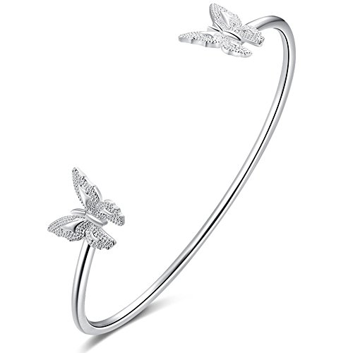 Plated Animal and Plant Charm C Cuff Bracelet Bridal Bangle Bracelets for Womens Butterflys (14k Heavy Charm Bracelet)