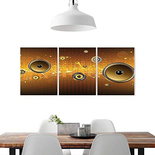 Art Decor Frameless W12 x H32/3P Home Print Decor Living RoomMusic Speakers Urban Party Scene Electronic Instrument DJ Disco Dancing Design Gold Ginger Yellow. ()