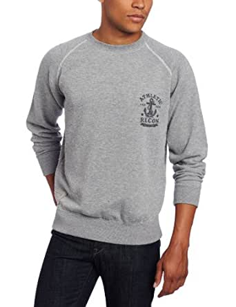 athletic recon Men's Steadfast Fleece Crew Neck Sweater, Grey Heather, Medium