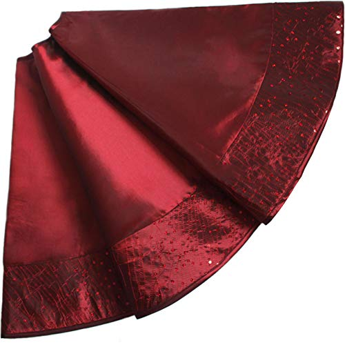 (Uheng 36-inch Satin Christmas Tree Skirt Mat with Embroidery Sequined Border Xmas Christmas Holiday Party Decorations Large for Table Top Trees Indoor Outdoor (Wine Red))