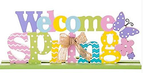 Welcome Spring Block Letter Sign - 13 inch x 5 inch ()
