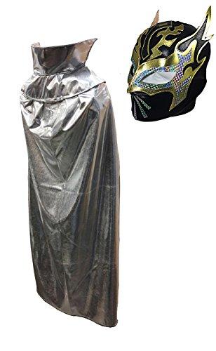 [SIN CARA JR Lucha Libre Wrestling Mask & Cape Halloween Costume Set - Black/Sil] (Custom Wrestling Costumes)