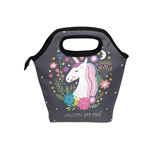 Unicorn Are Real Lunch Box Canvas Bento for Picnic Travel Tote Lunch Bag with Rope Belt Stylish