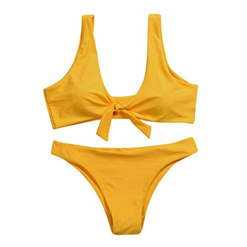kaifongfu Women Swimwear,Swimsuit Knotted Padded Thong Bikini Mid Waisted Scoop Beach Swimwear (S, (Geometric Thong)
