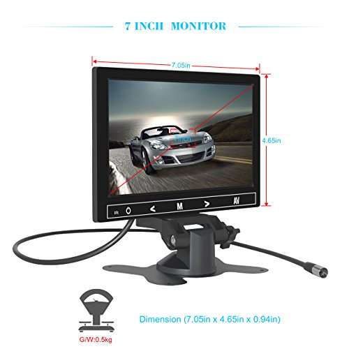 7 Inch TFT LCD Car Monitor 2 Video Input Vehicle Backup Display Car Rear View Monitor for Car Parking,Car DVD,VCR,Car Backup System,Home Security,with Remote Control by Cnhopestar by Cnhopestar (Image #3)