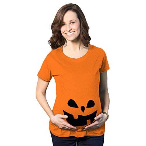 Maternity Teardrop Eyes Pumpkin Face Halloween Pregnancy Announcement T Shirt (Orange) - -