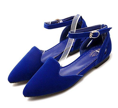 Aisun Womens Trendy Comfortabele Spitse Teen Uitgesneden Gesp Platte Schoenen Met Enkelbandjes Blauw